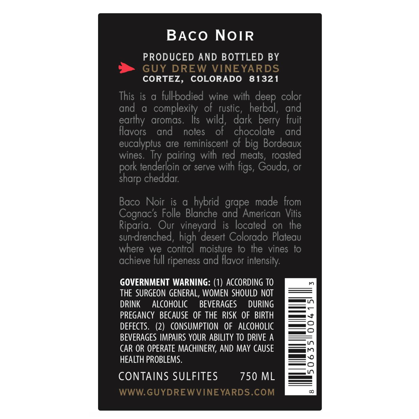 Guy Drew Baco Noir Back Label